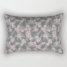 Sakura Branch Pattern - Ballet Slipper + Neutral Grey Rectangular Pillow