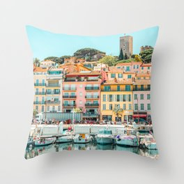 Cannes City Print, Luxurious Yachts And Boats, French Riviera, Travel Print, City Marina Port In France Poster, Colored Houses Photography, Colorful Home, Home Decor, Wall Art Print Throw Pillow