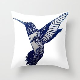 Single Blue print humming bird Throw Pillow