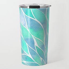 Blue watercolor feathers Travel Mug