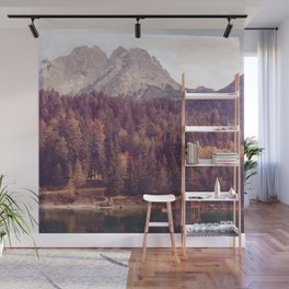 Landscape pine tree forest with cabin on lac Wall Mural