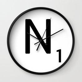 Letter N - Custom Scrabble Letter Tile Art - Scrabble N Initial Wall Clock