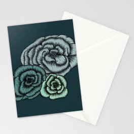 Green Flowers Stationery Cards