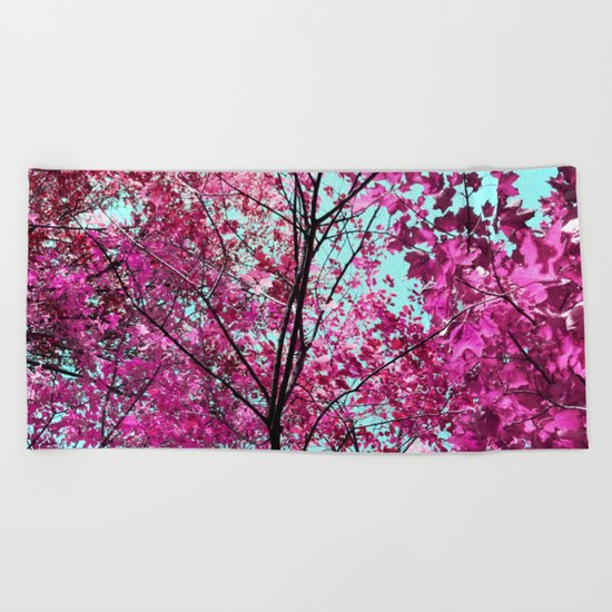 Autumn Pink Beach Towel