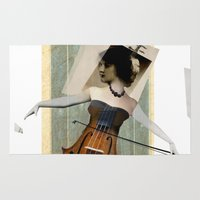 cello Area & Throw Rugs featuring Greselda by Rachael Shankman
