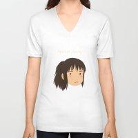 chihiro V-neck T-shirts featuring Spirited Away Chihiro by bonieiji