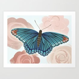 Blue Butterfly and Roses Art Print