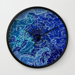 North Pole Neon Map Wall Clock