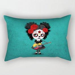 Day of the Dead Girl Playing Ecuadorian Flag Guitar Rectangular Pillow