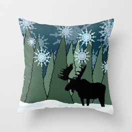 Moose in the Snowy Forest Throw Pillow