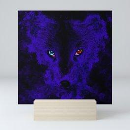 arctic fox bicolor eyes ws diff Mini Art Print