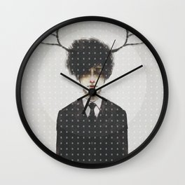 BLACK SUIT ANTLERS Wall Clock