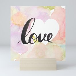 Watercolor floral love Mini Art Print