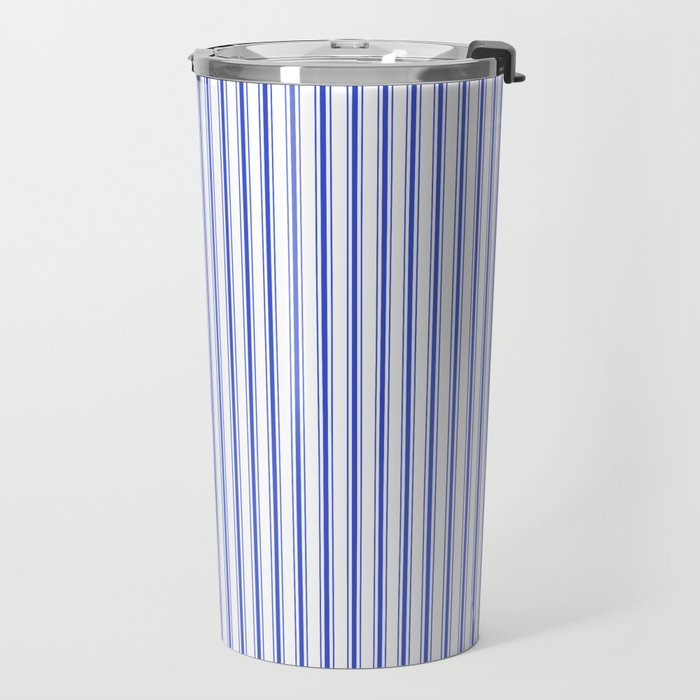 Small Vertical Cobalt Blue and White French Mattress Ticking Stripes Travel Mug