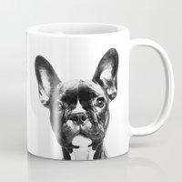 french bulldog Mugs featuring French BullDog by Maioriz Home