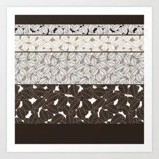 SWEET LEAFS PATCHWORK: BROWN Art Print