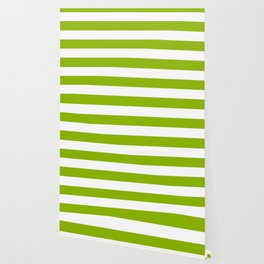 Apple green - solid color - white stripes pattern Wallpaper