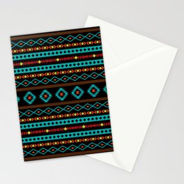 Aztec Teal Reds Yellow Black Mixed Motifs Pattern Stationery Cards