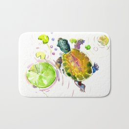 Swimming little cute turtle children nursery art Bath Mat