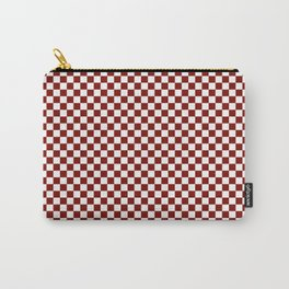 Vintage New England Shaker Barn Red and White Milk Paint Large Square Checker Pattern Carry-All Pouch