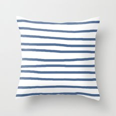 Simply Drawn Stripes in Aegean Blue and White Throw Pillow