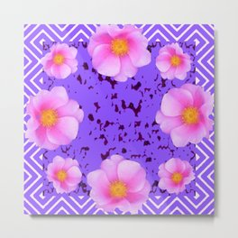 Fuchsia Pink Roses on Lilac Color Pattern Floral Art, Metal Print