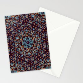 Brown and blue geometric Mandala Rich ornament Stationery Cards