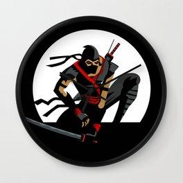 ninja warrior and full moon Wall Clock