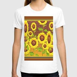 COFFEE BROWN SUNFLOWERS CABIN ART T-shirt