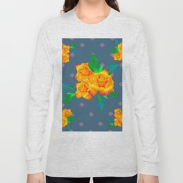 Teal Color Golden Roses Bouquet Patterns Long Sleeve T-shirt