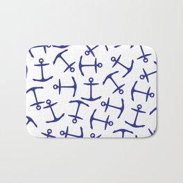 Modern Nautical Navy Blue Anchor Pattern Bath Mat