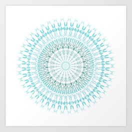 Turquoise White Mandala Art Print