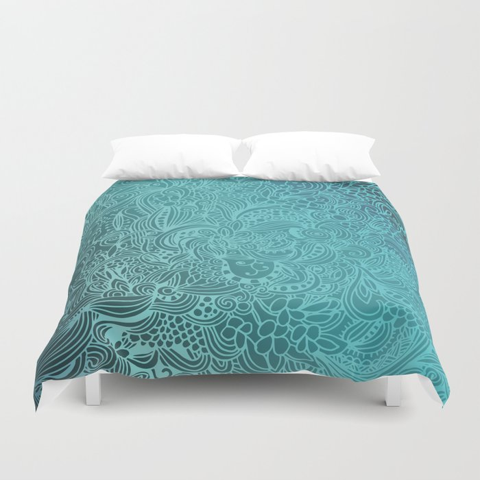 Detailed zentangle square, blue colorway Duvet Cover