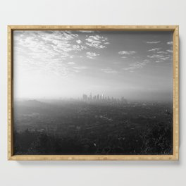 Los Angeles. L.A. Skyline. Black and White. Jodilynpaintings. Sunrise. Sunset. Cityscape. California Serving Tray