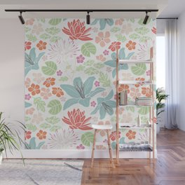 Teal blue and orange Japanese pond florals Wall Mural