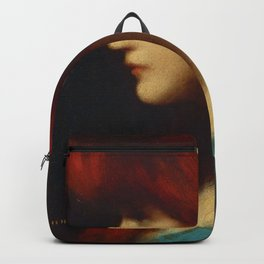 Profile of a young woman with red hair portrait by Jéan Jacques Henner Backpack