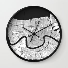 New Orleans Map Gray Wall Clock