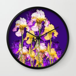 Contemporary Purple Yellow Iris Garden Art Wall Clock