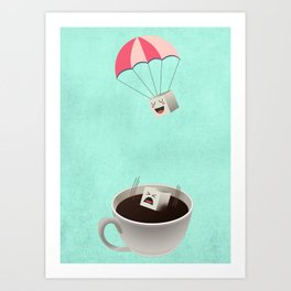 Sugar Cubes Jumping in a Cup of Coffee Art Print