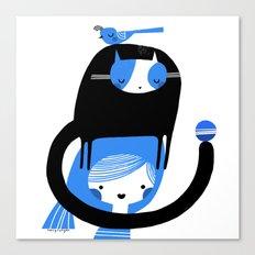 BLUE BIRD AND CAT ON HEAD Canvas Print