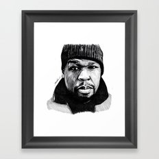 50 Cent Pen Drawing Framed Art Print