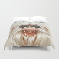 ruben Duvet Covers featuring The Great White Angry Monkey by Dr. Lukas Brezak