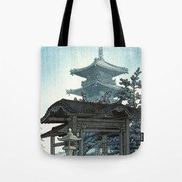 Rain at Zenshuji Temple by Kawase Hasui - Japanese Vintage Woodblock Ukiyo-e Painting Tote Bag
