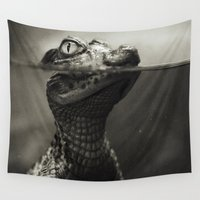 crocodile Wall Tapestries featuring Baby crocodile by VikaValter