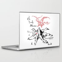 smaug Laptop & iPad Skins featuring Smaug and The Lonely Mountain by FloresArts