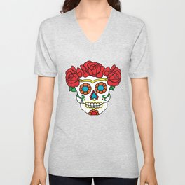 Rose Calavera Unisex V-Neck