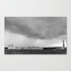 Venice in a storm, black and white 2 Canvas Print