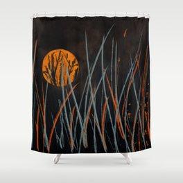 Halloween Night #Acrylic Painting #Holiday Shower Curtain