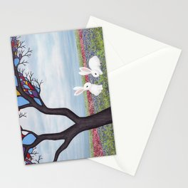 bunnies and the stained glass tree Stationery Cards
