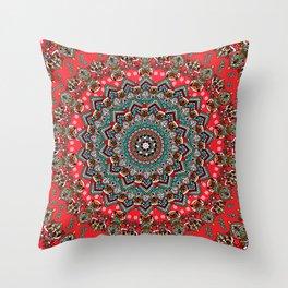 Mandala Christmas Pug Throw Pillow